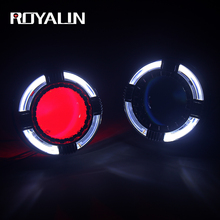 ROYALIN Full Metal LED H1 Bixenon Projector Headlights Lens Angel Eyes Halo Ring H4 H7 Car Styling Quadrod Mask Blue Devil