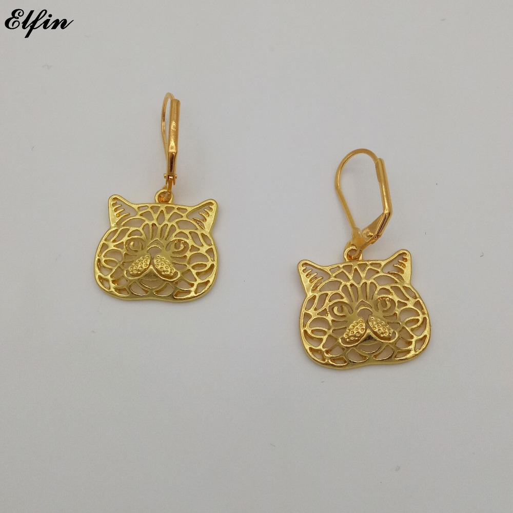 Exotic fashion jewelry - Elfin New Trendy Exotic Cat Earings Fashion Jewelry Gold Color Silver Color Exotic Shorthair Cat Wild