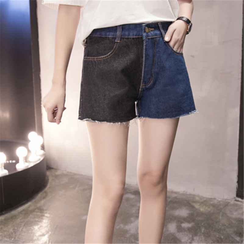 Summer New Fashion Spell Color Black and Blue Cool Large Size Jeans for Women Students Casual Wide Leg Denim Shorts Pockets 5XL