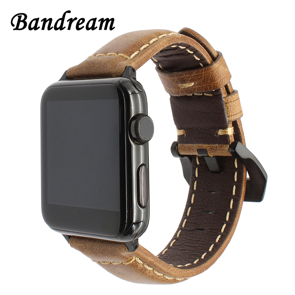 Italy Oil Wax Genuine Leather Watchband for iWatch Apple Watch 38mm 42mm Series 1 2 3 Band Steel Clasp Strap Wrist Belt Bracelet kakapi crocodile skin genuine leather watchband with connector for apple watch 38mm series 2 series 1 pink