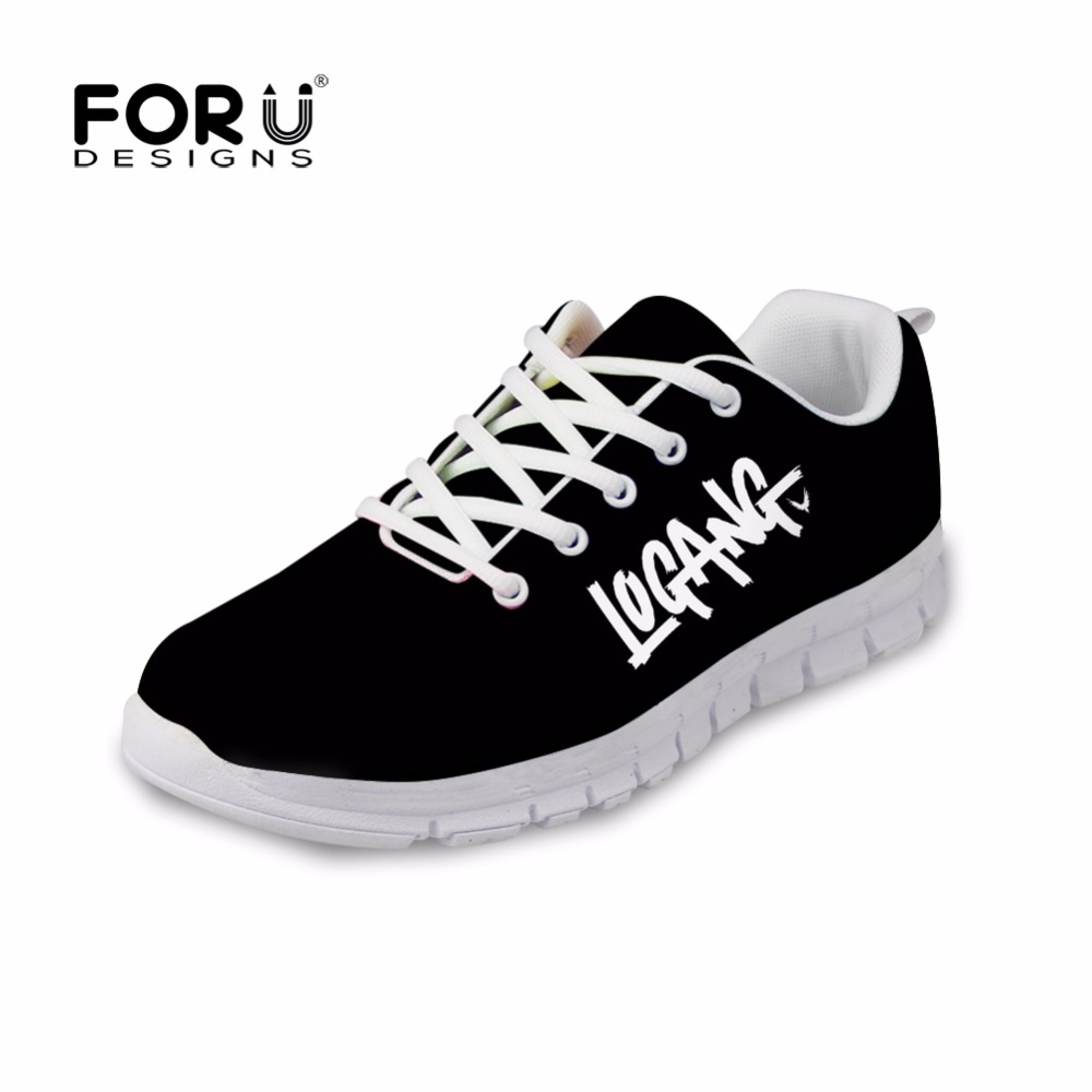 FORUDESIGNS Logan Jake Paul Women Sneakers Flats Shoe Lace-up Comfortable Shoes 2018 Printing for Teenager LOGANG Casual Black glowing sneakers usb charging shoes lights up colorful led kids luminous sneakers glowing sneakers black led shoes for boys