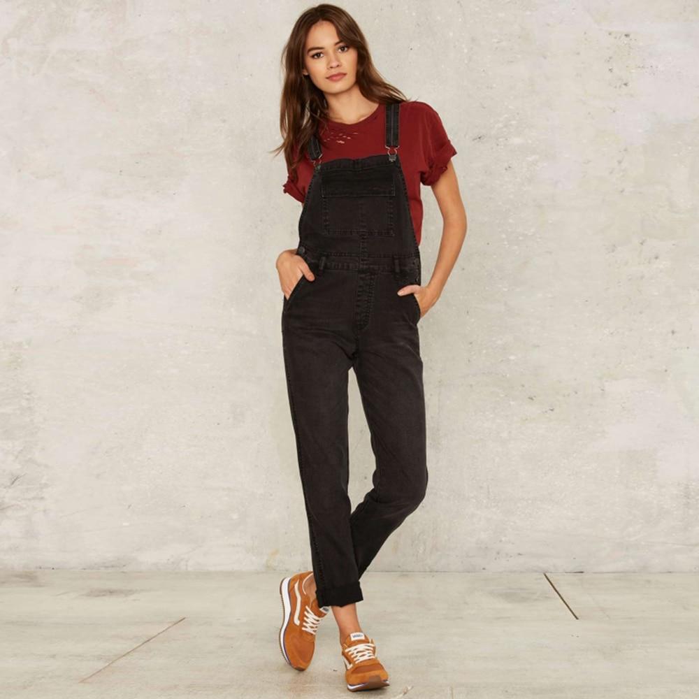 Hyh haoyihui твердые черные женщины комбинезон регулируемый ремень кнопка карманы габаритные комбинезон опрятный стиль случайные джинсовой комбинезон