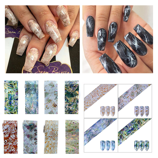 Shellhard Gradient Marble Shell Nail Art Foils Stickers Transfer