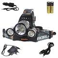 BORUIT 5000Lm 3X XM-L T6 + 2R5 светодиодный налобный фонарь 2X 18650 аккумулятор + Автомобильное зарядное устройство AC USB для кемпинга рыбалки и велоспорта