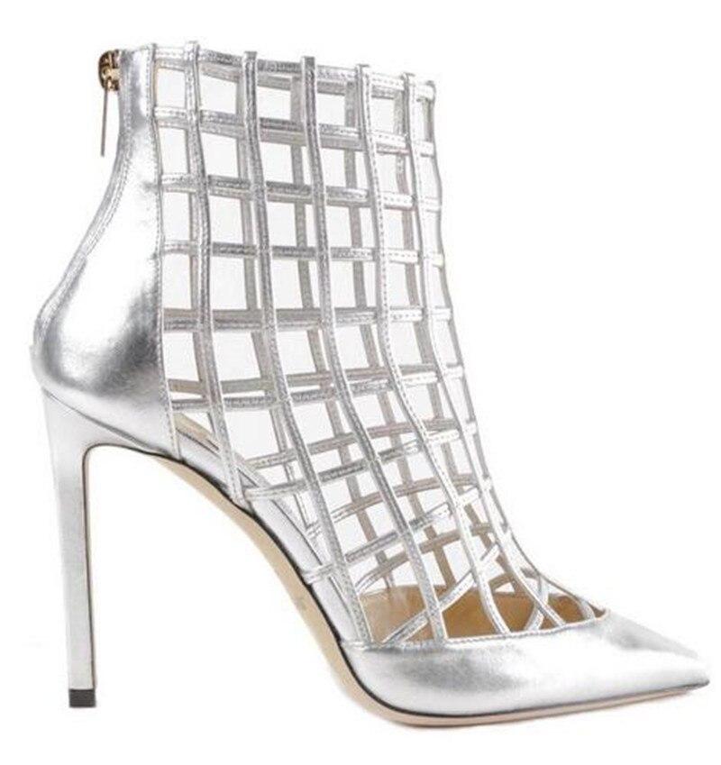 Cheville Haute Pic as De Bottes Chaussures Talons Cuir Femme Découpes Chaussons Sandalias Mode As Mujer D'été Pointu Stiletto Sheldon Pic En Zapato Cage Rcxq0Iwx18