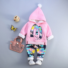 Girls Boys Winter Clothing Sets Fashion 1 2 3 4 Years Baby Infant Spring Autumn Cute Outfits For Girl Pink Gray Blue Three Color