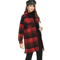 office lady red plaid single button wool blend woman coat autumn spring 2019 wide waist tassel long sleeve female long coat