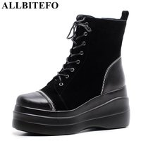 ALLBITEFO Fashion Casual Genuine Leather Wedges Heel Platform Women Boots New Winter Boots High Heels Snow