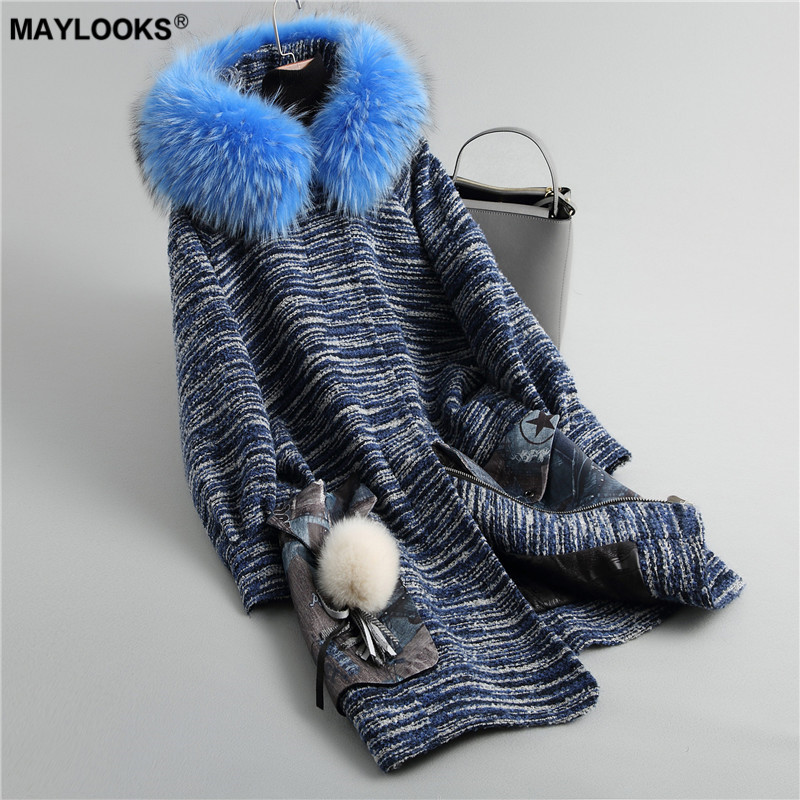 Self-Conscious Maylooks Autumn Winter New Fur Coat, Long Female Tweed, Fur Raccoon, Wool Hat Hat Coat. 18047 Rich And Magnificent