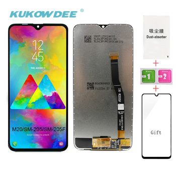 ORIGINAL 6.3'' LCD Display For SAMSUNG Galaxy M20 2019 SM-M205 M205F Touch Screen Digitizer Assembly Replacement Parts