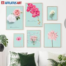 Pink Rose Chrysanthemum Peony Flower Wall Art Canvas Painting Nordic Posters And Prints Pictures For Living Room Home Decor