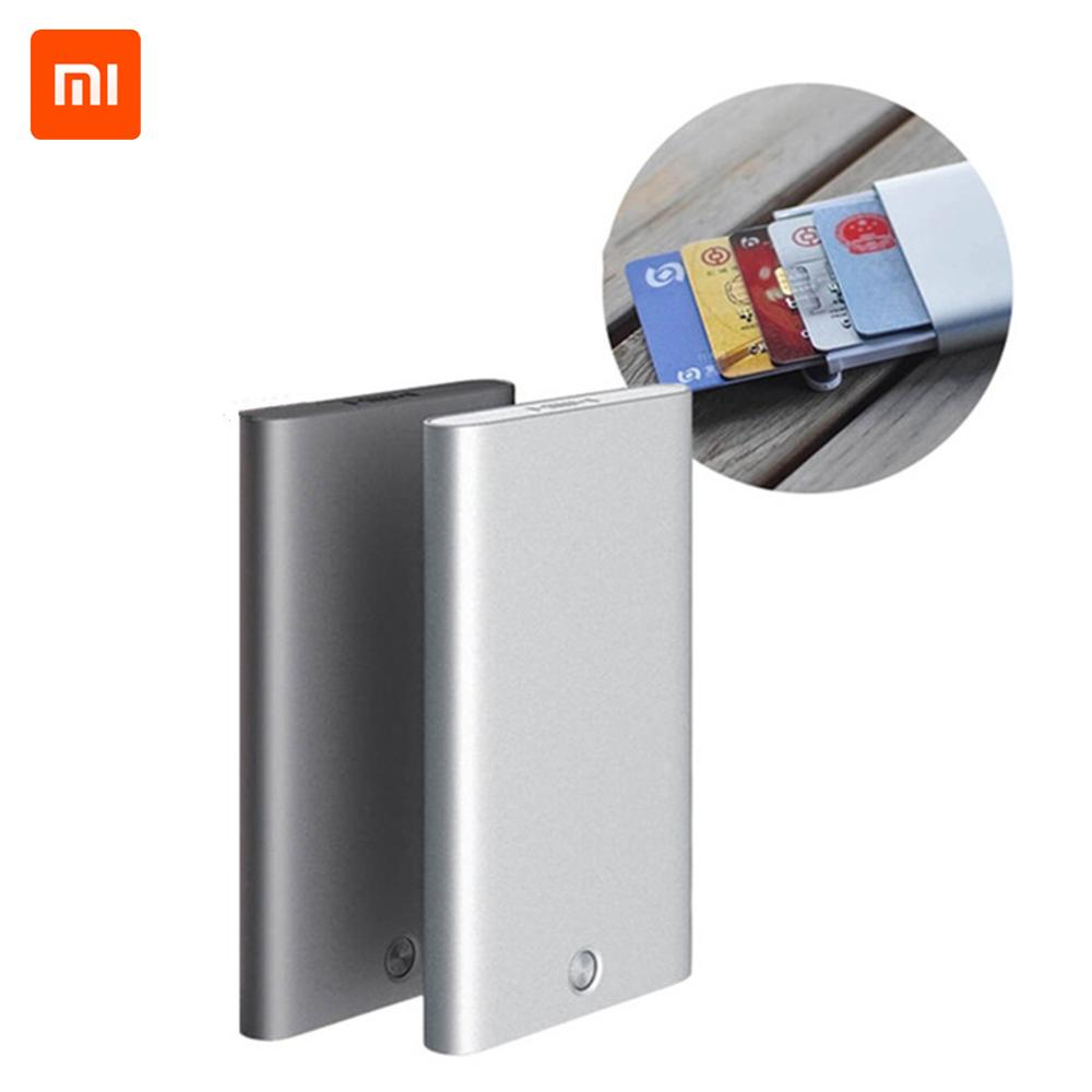 New Xiaomi MIIIW Card Case Automatic Pop Up Box Cover Card Holder Mijia Metal Wallet ID Portable Storage Bank Card Credit Card