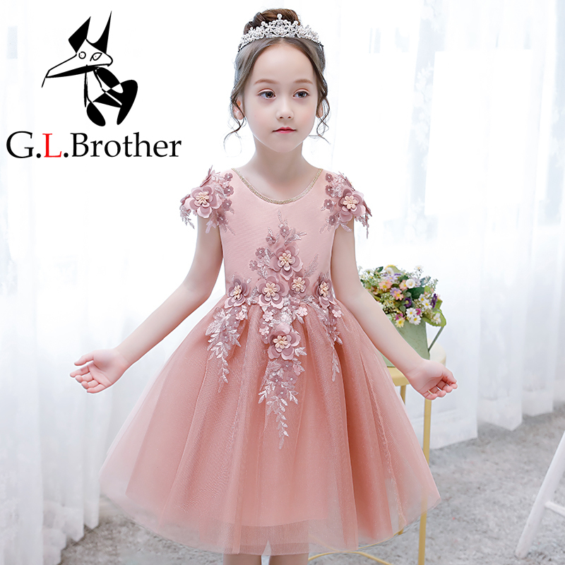 цена на Cute Girl's Princess Gown Birthday Party Dress Appliques Flower Girls Dresses Knee-Length Ball Gown Holy Communion Dress AA284