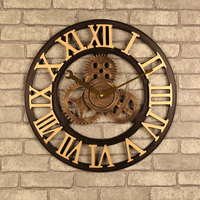 Handmade Oversized 3D retro rustic decorative luxury art big gear wooden vintage large wall clock on the wall for gift 16 inche