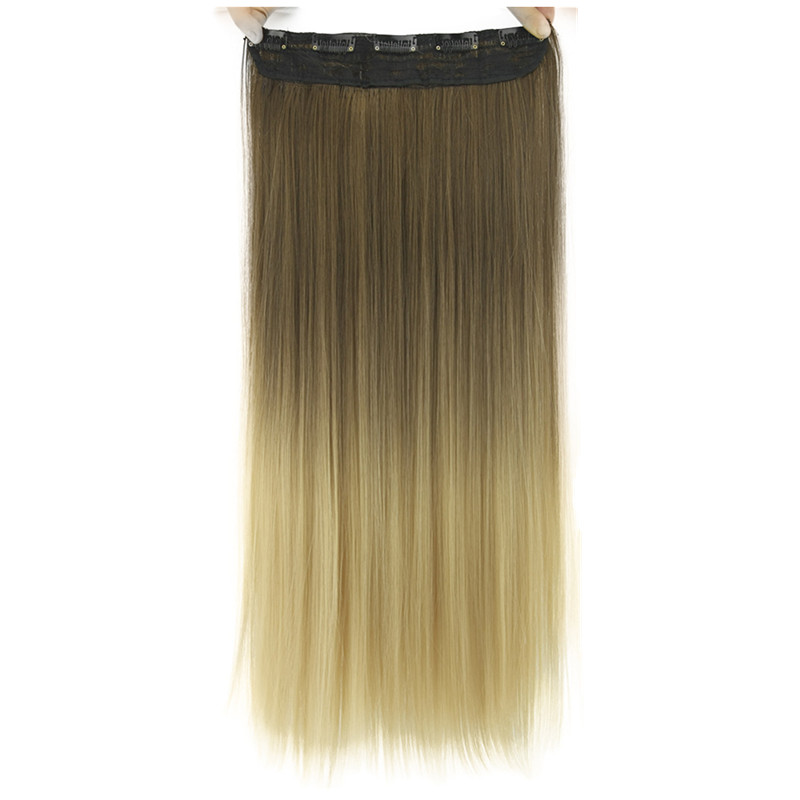 Gres Silky Straight Ombre Synthetic Hair Extensions Women 24inch Long 5 Clip-in Gradient Hair Pieces High Temperature Fiber(China)