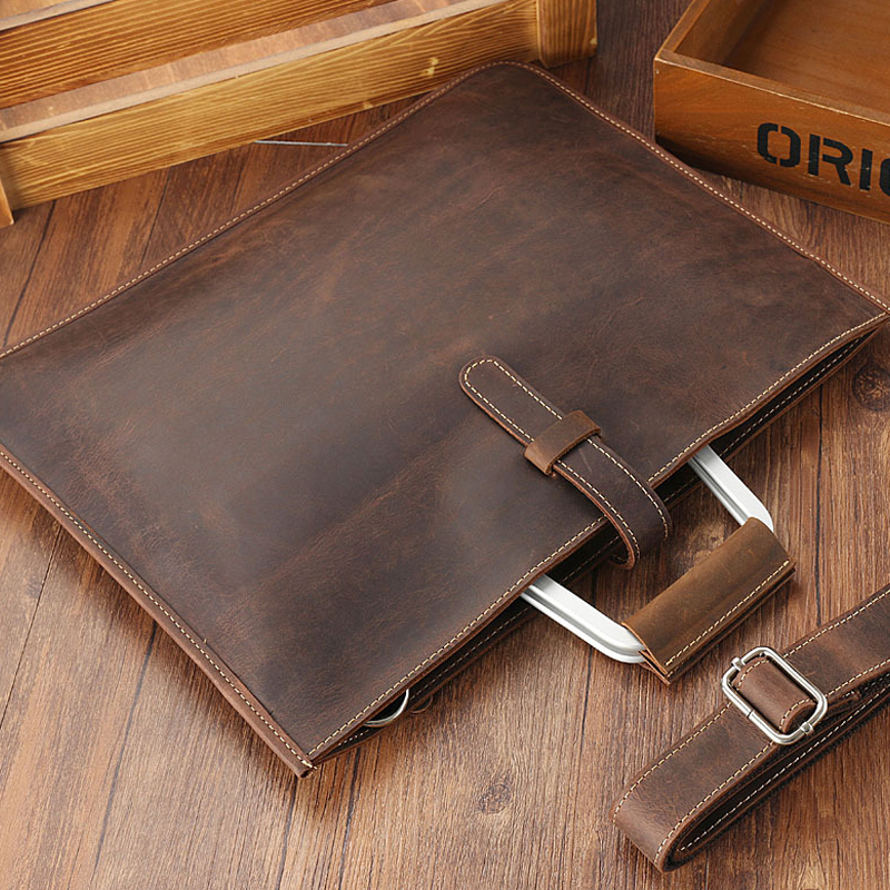 Genuine Leather File Document Bag Documents Organizer Storage With Inner Pocket Real Nature Cow Leather Office Business Supplies in File Folder from Office School Supplies