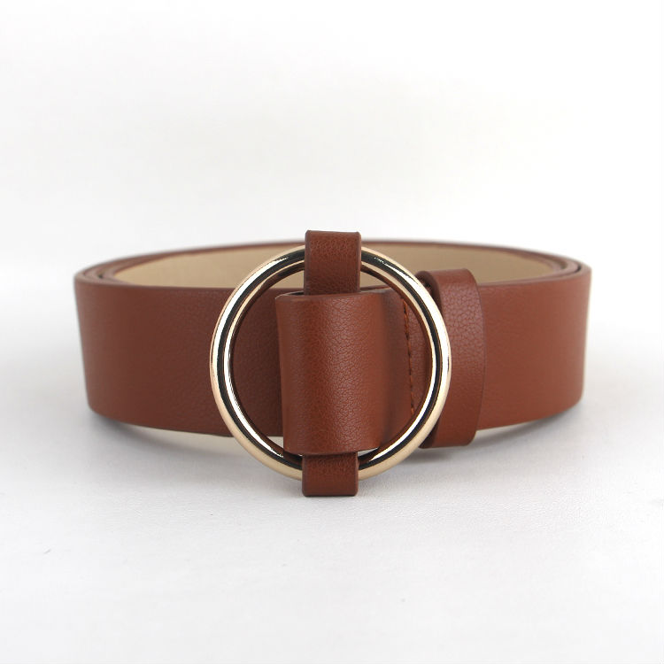 Newest Gold Round buckle belts female HOT leisure jeans wild belt without pin metal buckle brown leather black strap belt women 6