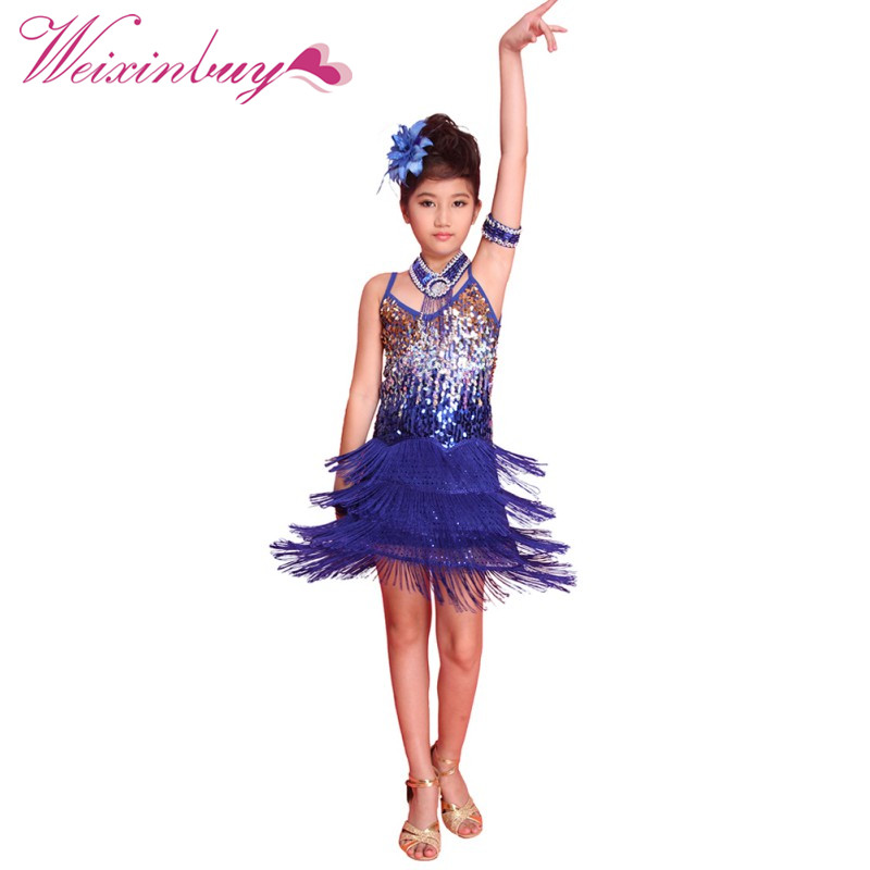 Girls Party Dance Costume Dress Tasseled Ballroom Latin Salsa Dancewear Kids Dresses