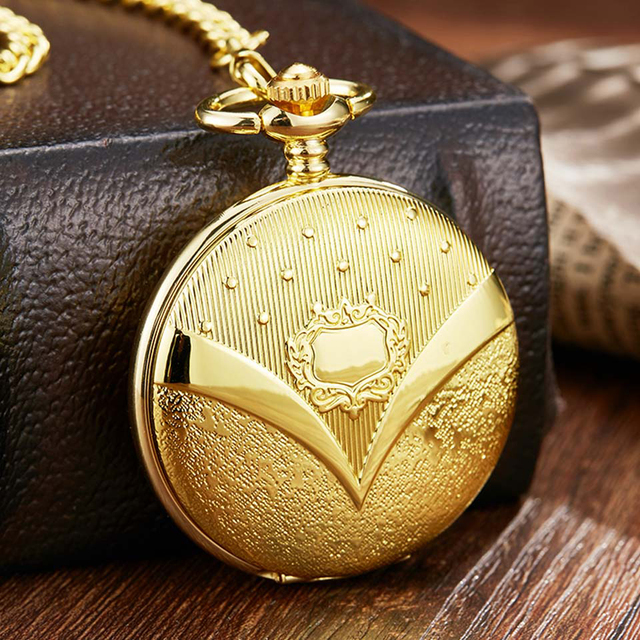 Luxury Gold Mechanical Pocket Watch Necklace Hand Wind Letter V Laser Engraved Golden Men Fob Clock Necklace Watches with Chain