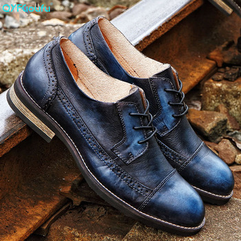 QYFCIOUFU High Quality Men Formal Shoe Genuine Leather Oxford Shoes For Men 2019 Dress Shoes Wedding Shoes Laces Leather Brogues