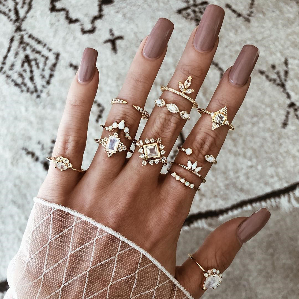 12 Pcs/set Women Bohemian Vintage Crown Moon Star Flower Heart Lotus Leaf Crystal Opal Joint Ring Party Jewelry Gold Rings Set