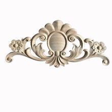 Bloem Houtsnijwerk Natuurlijke Decoratieve Meubels Applicaties Kabinet Unpainted Houten Mouldings Decal Decoratieve Beeldjes