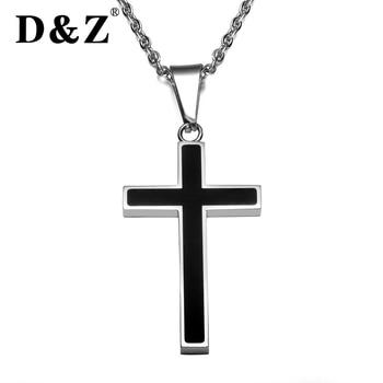 7139065f4450 D   Z Cruz religiosa colgante collar hombres Cadena de plata Acero  inoxidable Jesús crucifijo collares y colgantes para joyería cristiana