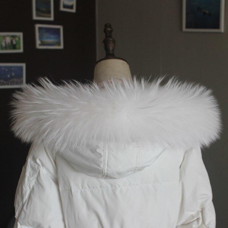 Зимняя куртка из натурального меха, воротник из натурального меха енота, женские шарфы, пальто, женская шапка, длинный теплый шарф из натурального меха, большой размер - Цвет: White 70 cm long