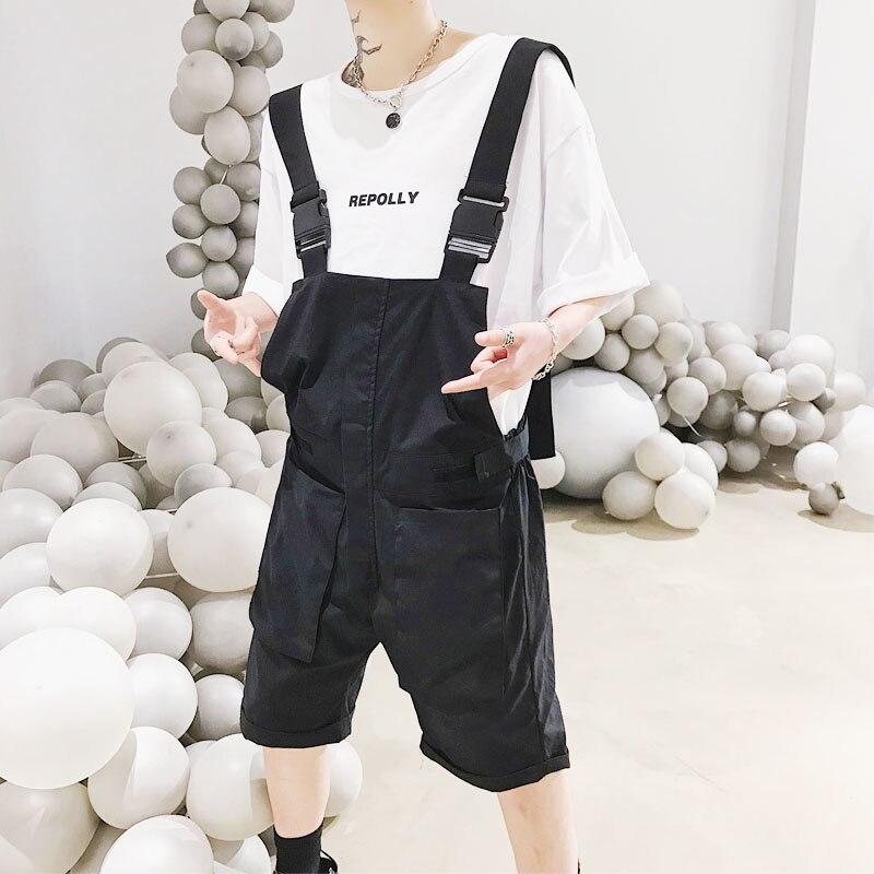 Men Summer Thin Loose Casual Black Short Bib Pants Overalls Male Streetwear Hip Hop Harem Trouser Jumpsuits