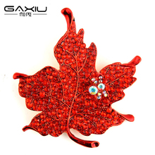 Zircon Red Maple Leaf Brooches For Women Gold Silver Alloy Female Brooch Pins Fashion Wedding Party Sweater Clothing Jewelry