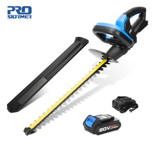 hot deal buy prostormer 20v cordless hedge trimmer lithium-ion 2000mah rechargeable weeding hedge shear household pruning mower garden tools