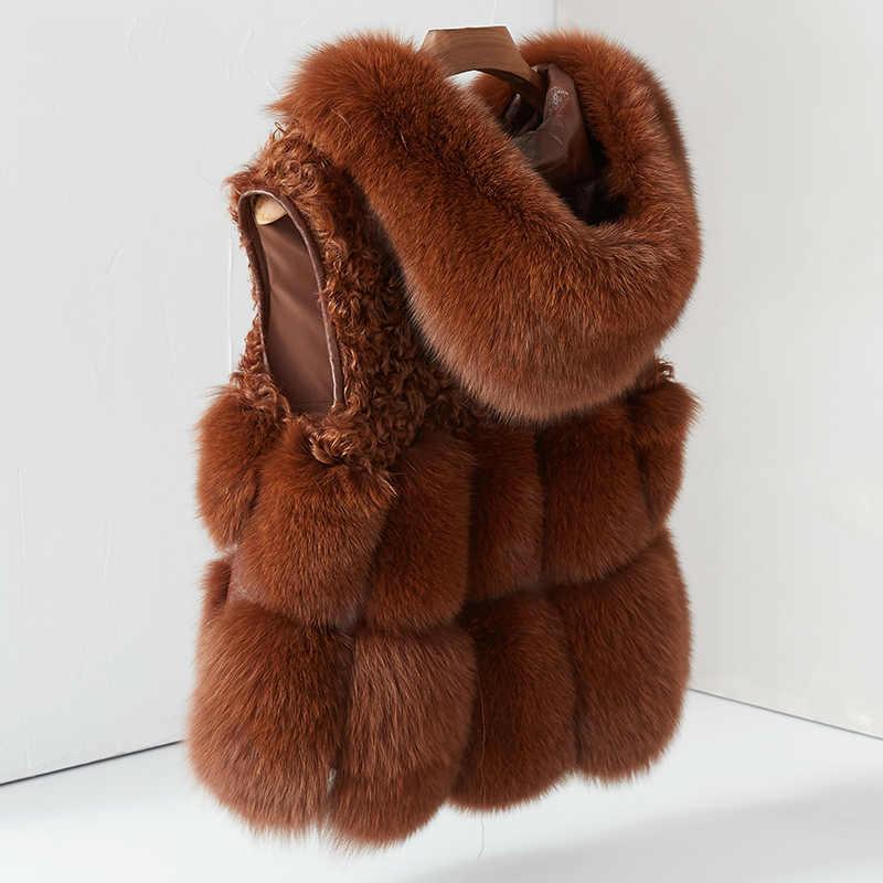 Kadın gerçek tilki kürk yelek Hoodie ceket kalın doğal kürk ceket kadın yelek jile kış gerçek tilki kürk yelek kürk Hood ile