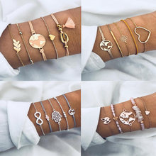 Fashion Bohemia Pink Crystal Beads Charm Bracelets Set Woman Gold Heart Map Arrow Tassel Rope Chain Cuff Bracelet Female Jewelry(China)
