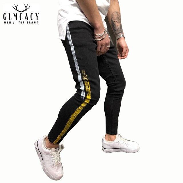 282453d0925 Men's Black Jeans Yellow Side Stripes Hip Hop Streetwear Raw Edge Skinny Fit  Printed Street Fashion