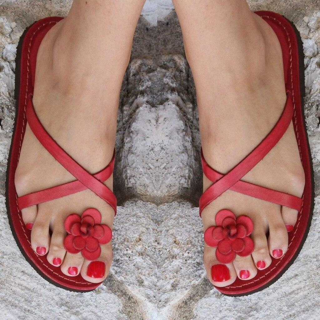 Flower Slipper Sandals Flip-Flops Summer Women's Open-Toe Casual Flat-Bottomed Mujer