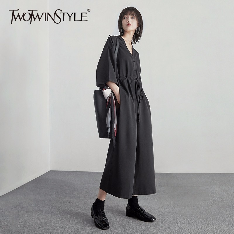 TWOTWINSTYLE Draw String Jumpsuits For Women V Neck High Waist Black Long Wide Leg Pants Spring Summer Female Casual Clothing