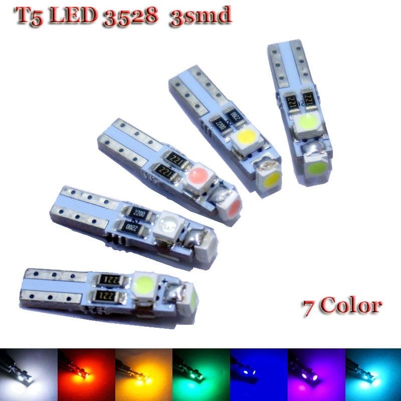 100x автомобиля СИД T5 3 из светодиодов СМД 3528 Клин светодиодные лампы лампы 3SMD Белый внутреннего освещения приборов загорается предупреждающий Индикатор приборной панели