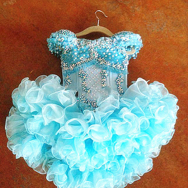Girls Blue Layered Flower Dress Kids Birthday Wedding Pegeant Gown Cupcake Dress 4good kids s45 blue