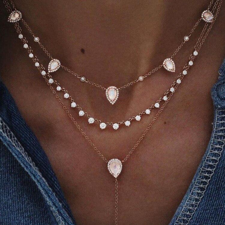 Богемное многослойное ожерелье с кулоном из кристаллов для женщин, золотые модные многослойные ожерелья и кулоны, ювелирные изделия - Окраска металла: NE-0205-24