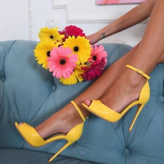 Sexy Yellow Patent Leather High Heels Pumps 12cm Peep Toe Ankle Strap Cut out Ankle Strap Women Shoes High Heels Customized in High Heels from Shoes