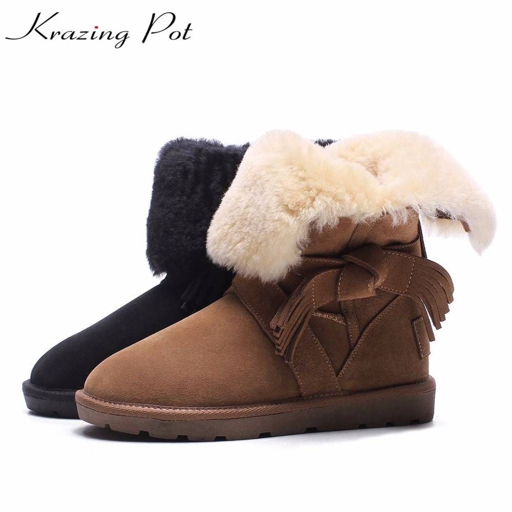 Krazing pot hot sale cow suede round toe flat with low heels bowtie tassel winter snow boots luxury keep warm mid-calf boots L21 krazing pot hot sale cow suede round toe thick high heels fashion office lady bowtie design keep warm quality ankle boots l8f1