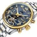 Carnaval Para Hombre Multifunción Holllow fuera Dial Acero Correa Mismo-Viento Automático Reloj Mecánico de oro bisel dial azul