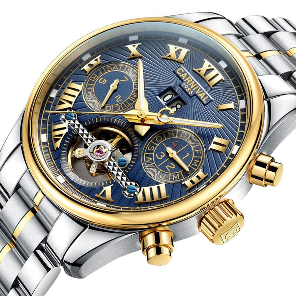 Prix pour Carnival Hommes Multifonction Holllow-out Cadran Bracelet En Acier Automatique Auto-Vent Montre Mécanique-or lunette cadran bleu