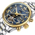 Carnival Mens Multifunction Holllow-out Dial Steel Watchband Automatic Self-Wind Mechanical Watch - gold bezel blue dial