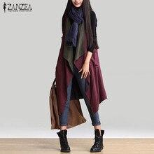 Reversible Wear Outerwear 2016 Autumn Women Casual Waterfall Irregular Sleeveless Long Trench Coat Solid Loose Outwear Cardigan