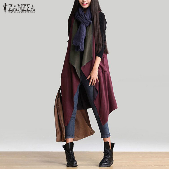 Reversible Wear Outerwear 2017 Autumn Women Casual Waterfall Irregular Sleeveless Long Trench Coat Solid Loose Outwear Cardigan