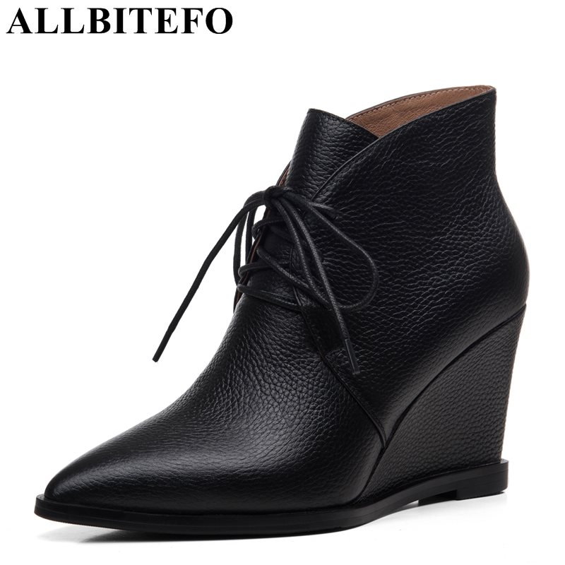 ALLBITEFO new fashion wedges heels genuine leather pointed toe women boots high quality high heels leather