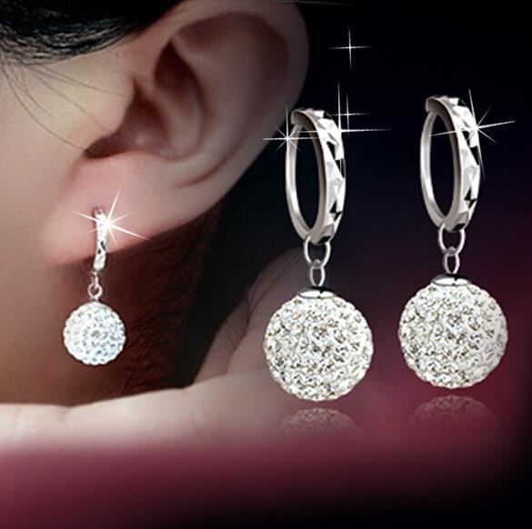 OMHXZJ wholesale Fashion jewelry AAA zircon drill ball 925 sterling silver Stud Earrings YS11 in Earrings from Jewelry Accessories