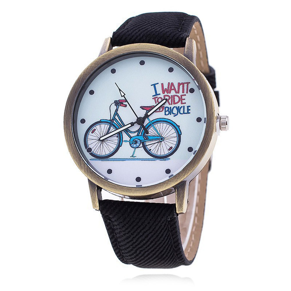 Simple Fashion Women Watches Bicycle Pattern PU Leather Strap Vintage Ladies Wristwatch Girls Kids Casual Quartz Watch L kingsky new fashion small women watches famous design quartz watch black pu leather strap wristwatch