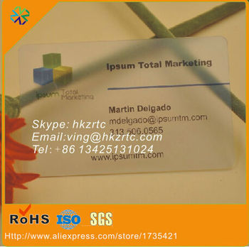 500pcs/lot hard plastic pvc transparent material one side printing frosted transparent card